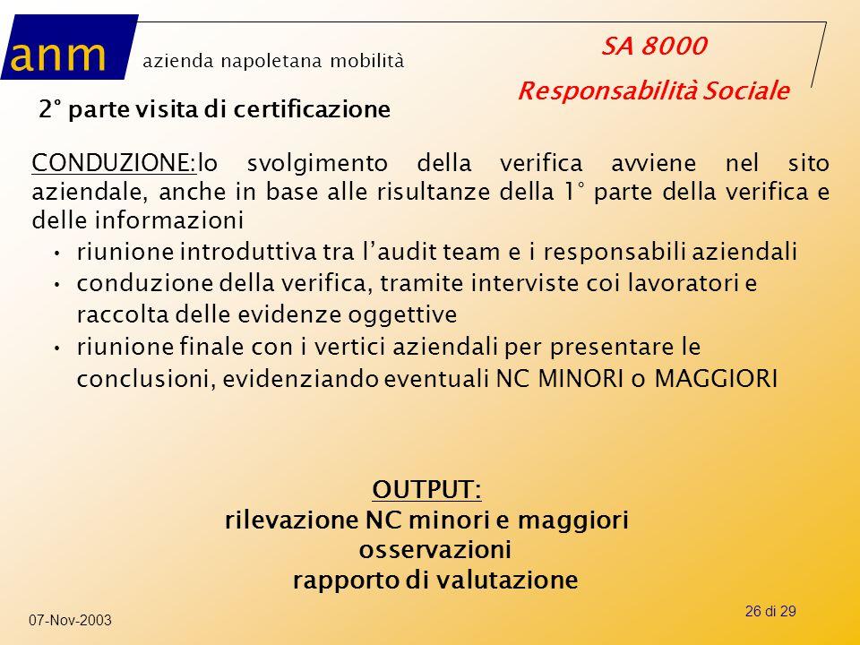 rilevazione NC minori e maggiori rapporto di valutazione