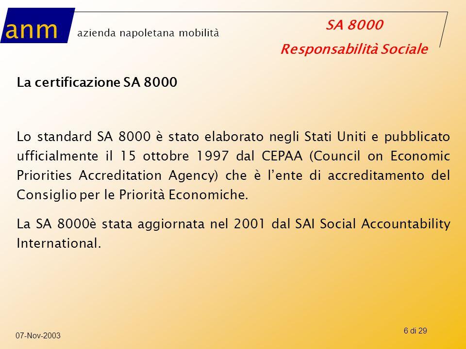 La certificazione SA 8000