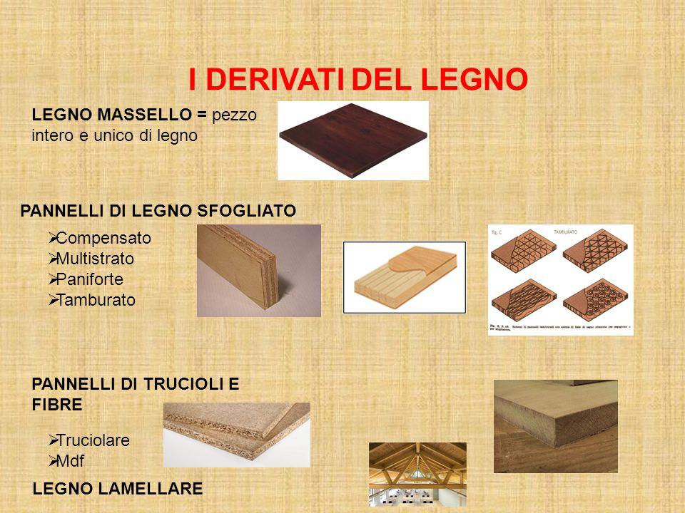 I DERIVATI DEL LEGNO LEGNO MASSELLO = pezzo intero e unico di legno