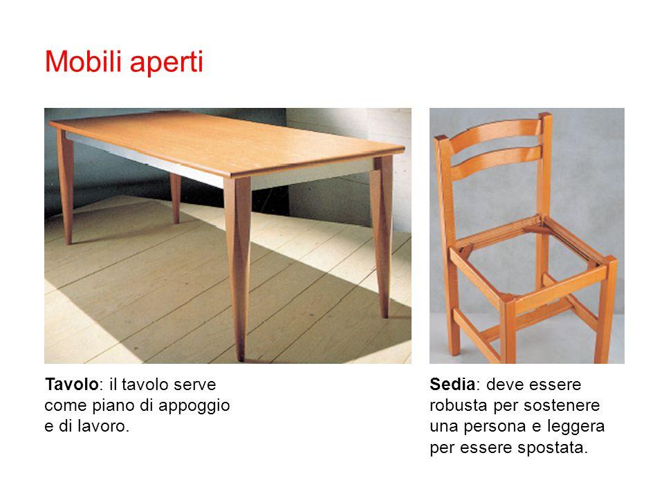 Mobili aperti Tavolo: il tavolo serve come piano di appoggio e di lavoro.