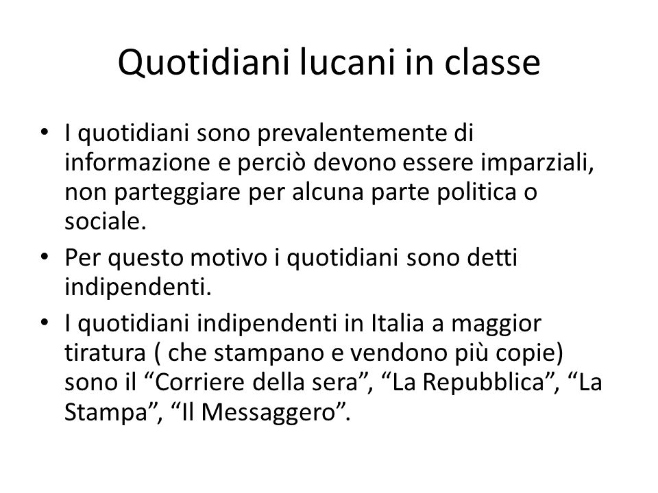 Quotidiani lucani in classe