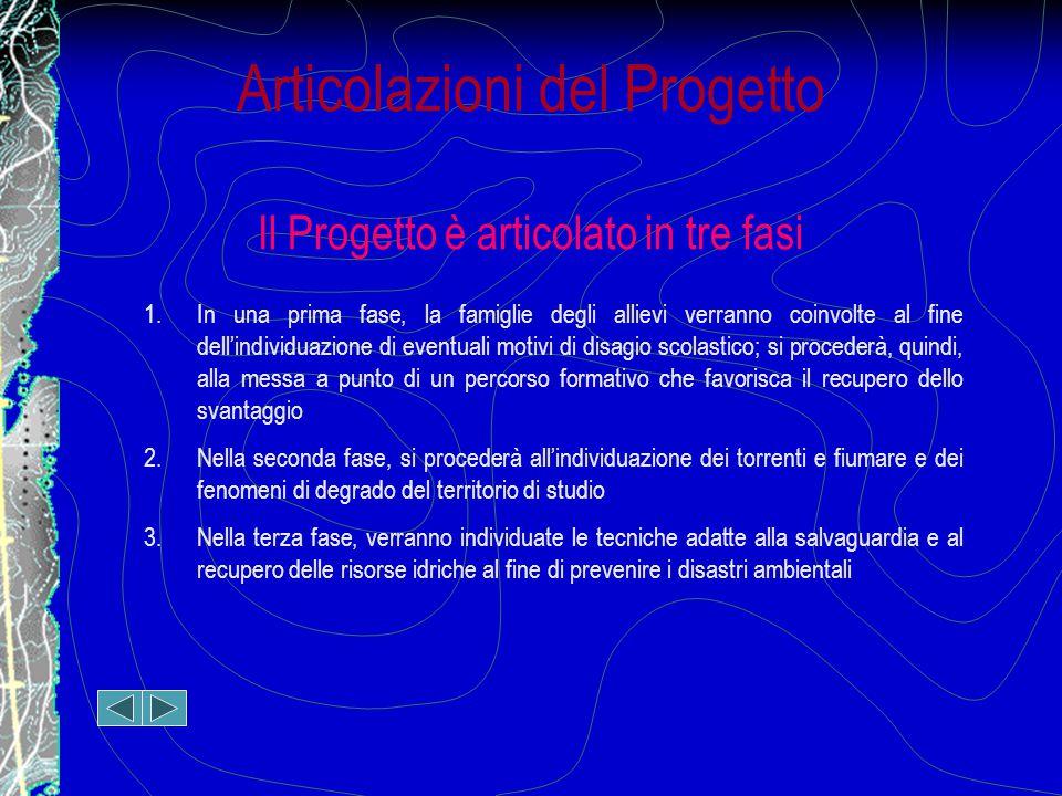 Articolazioni del Progetto Il Progetto è articolato in tre fasi