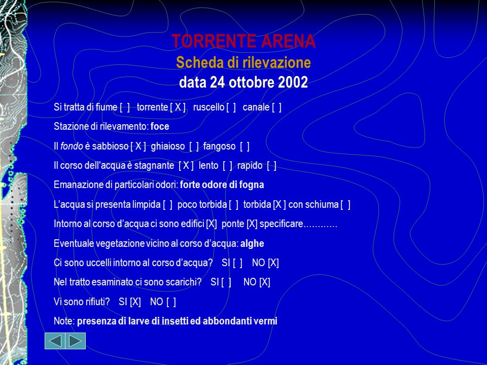 TORRENTE ARENA Scheda di rilevazione data 24 ottobre 2002