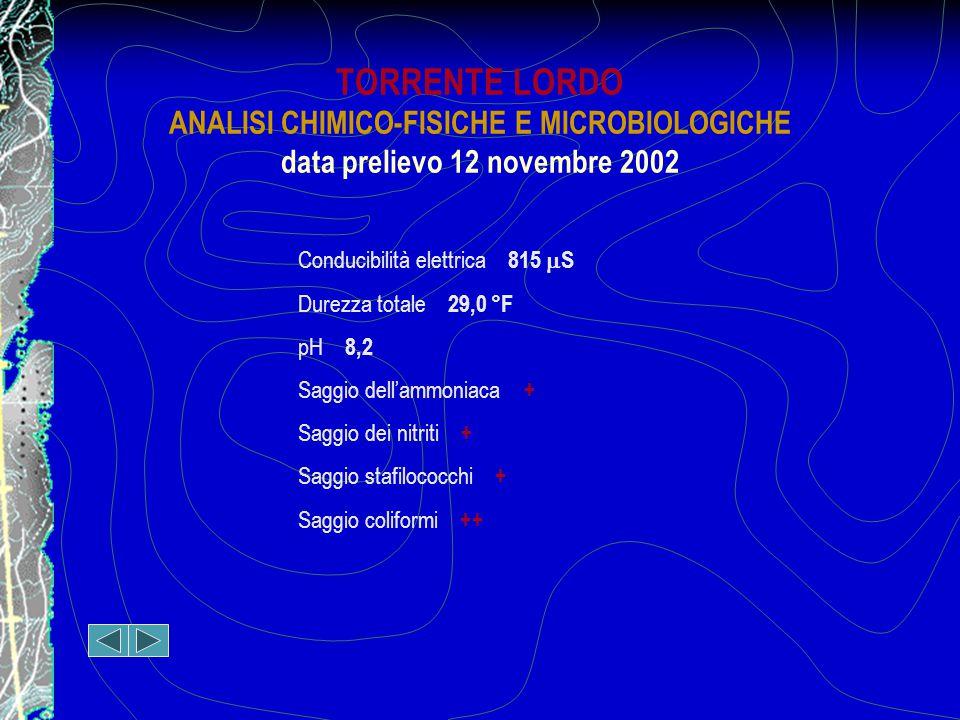 TORRENTE LORDO ANALISI CHIMICO-FISICHE E MICROBIOLOGICHE data prelievo 12 novembre 2002