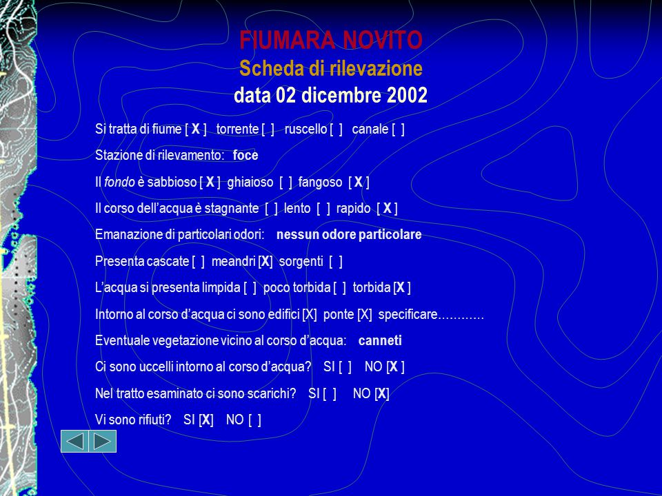 FIUMARA NOVITO Scheda di rilevazione data 02 dicembre 2002