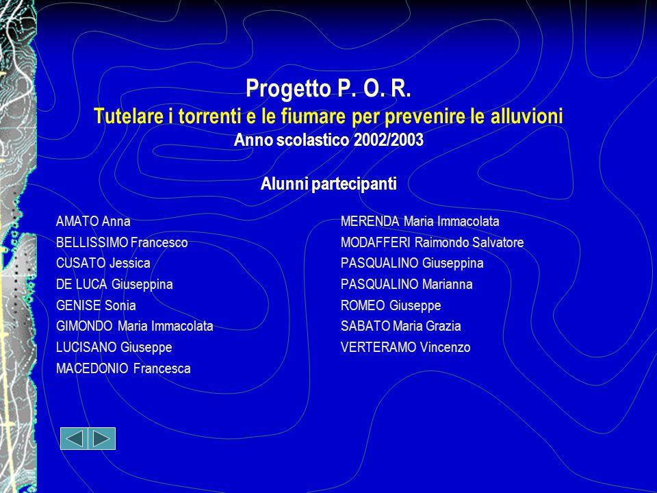 Progetto P. O. R. Tutelare i torrenti e le fiumare per prevenire le alluvioni Anno scolastico 2002/2003 Alunni partecipanti
