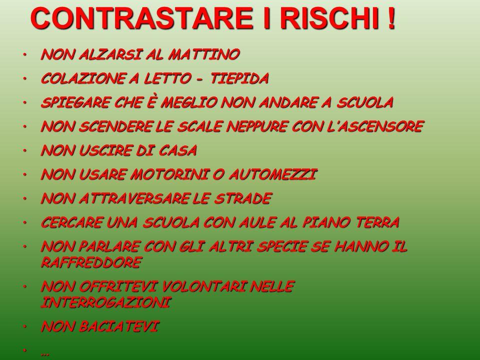 CONTRASTARE I RISCHI ! NON ALZARSI AL MATTINO