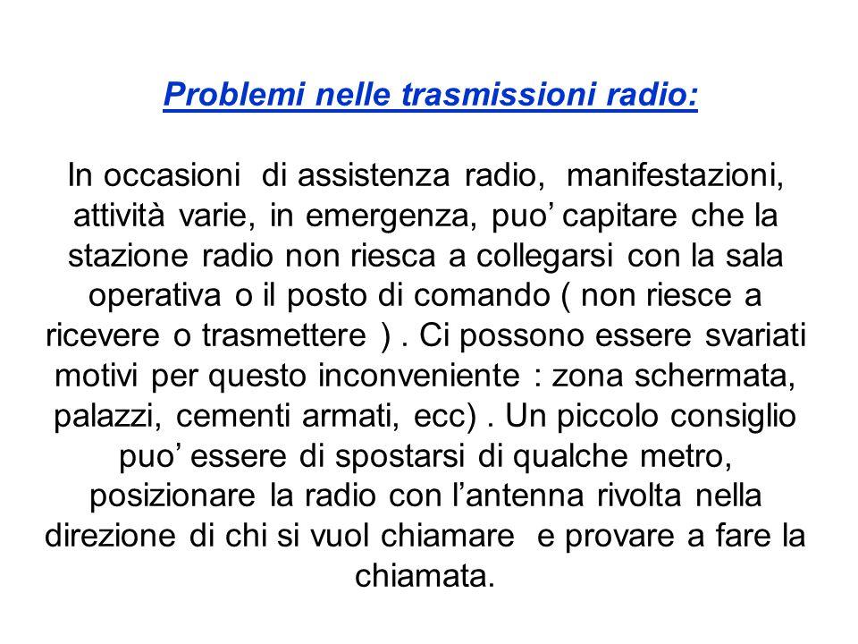 Problemi nelle trasmissioni radio: