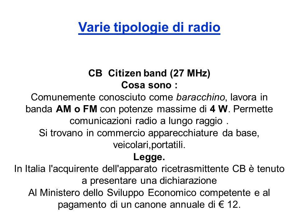 Varie tipologie di radio