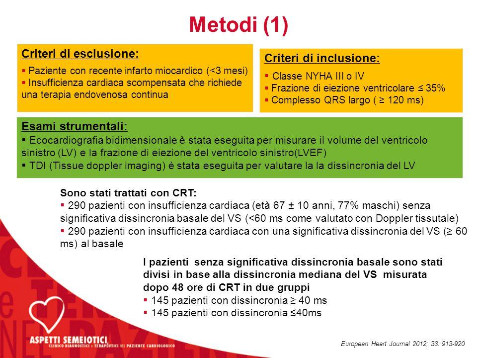 Metodi (1) Criteri di esclusione: Criteri di inclusione: