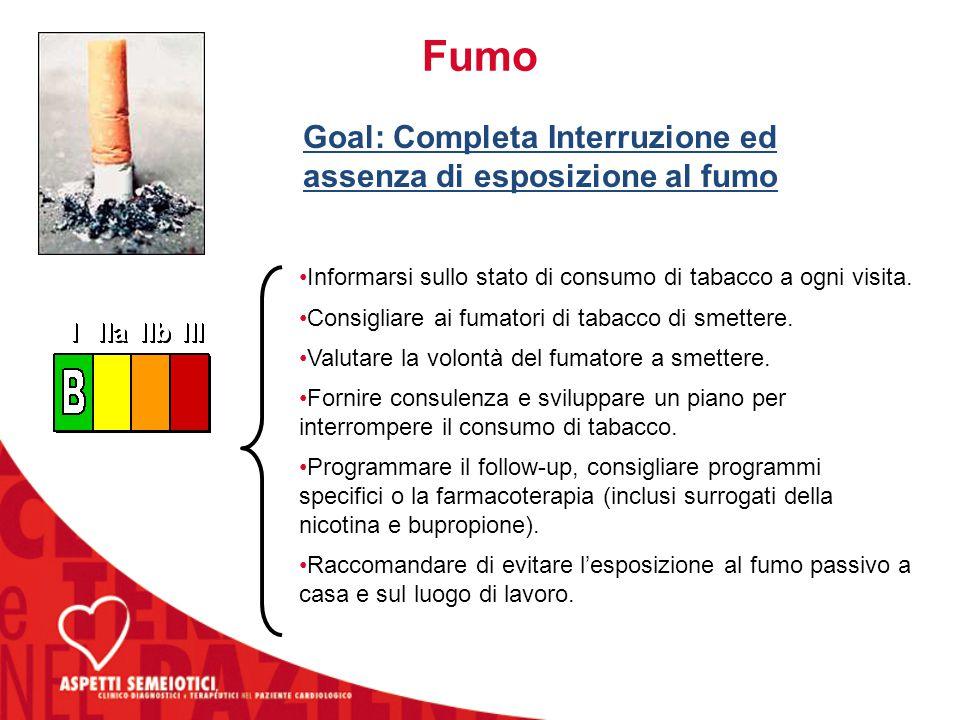 Goal: Completa Interruzione ed assenza di esposizione al fumo
