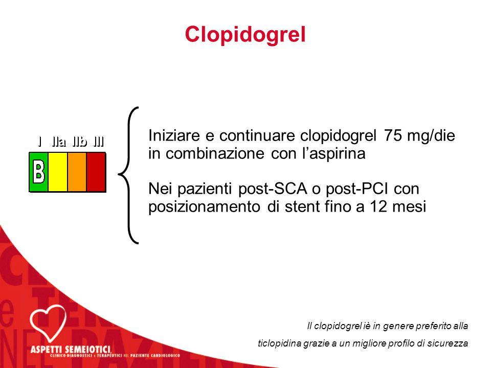 Clopidogrel Iniziare e continuare clopidogrel 75 mg/die in combinazione con l'aspirina.