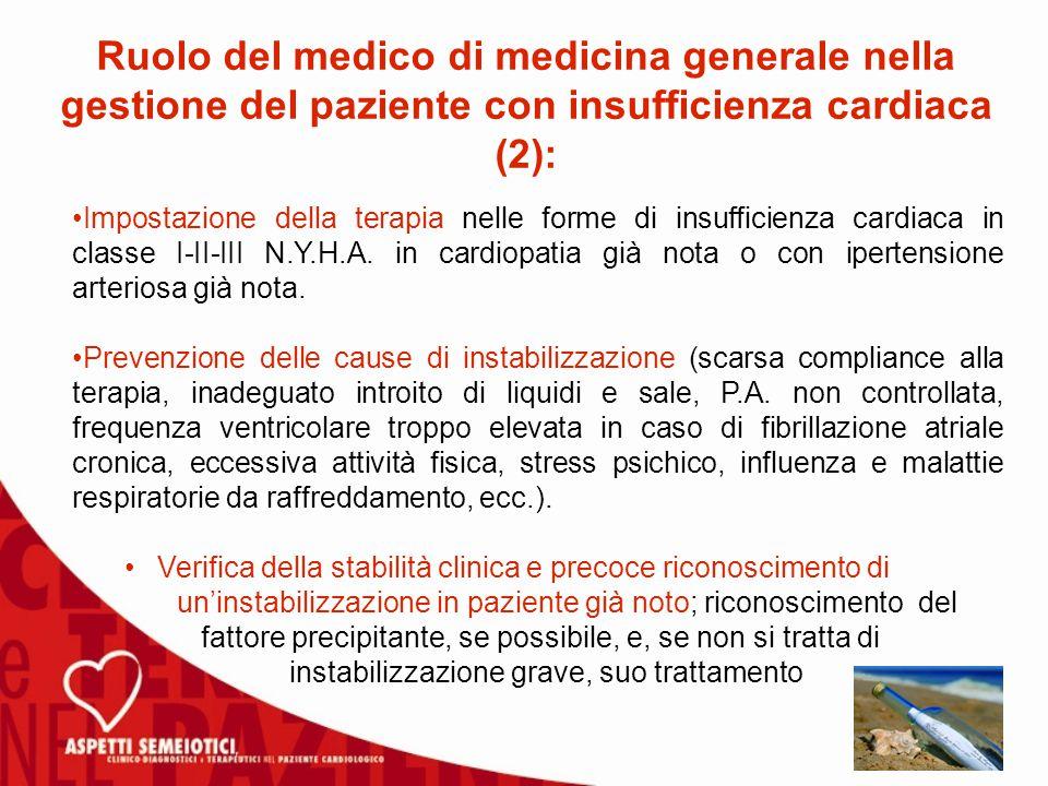 Ruolo del medico di medicina generale nella gestione del paziente con insufficienza cardiaca (2):