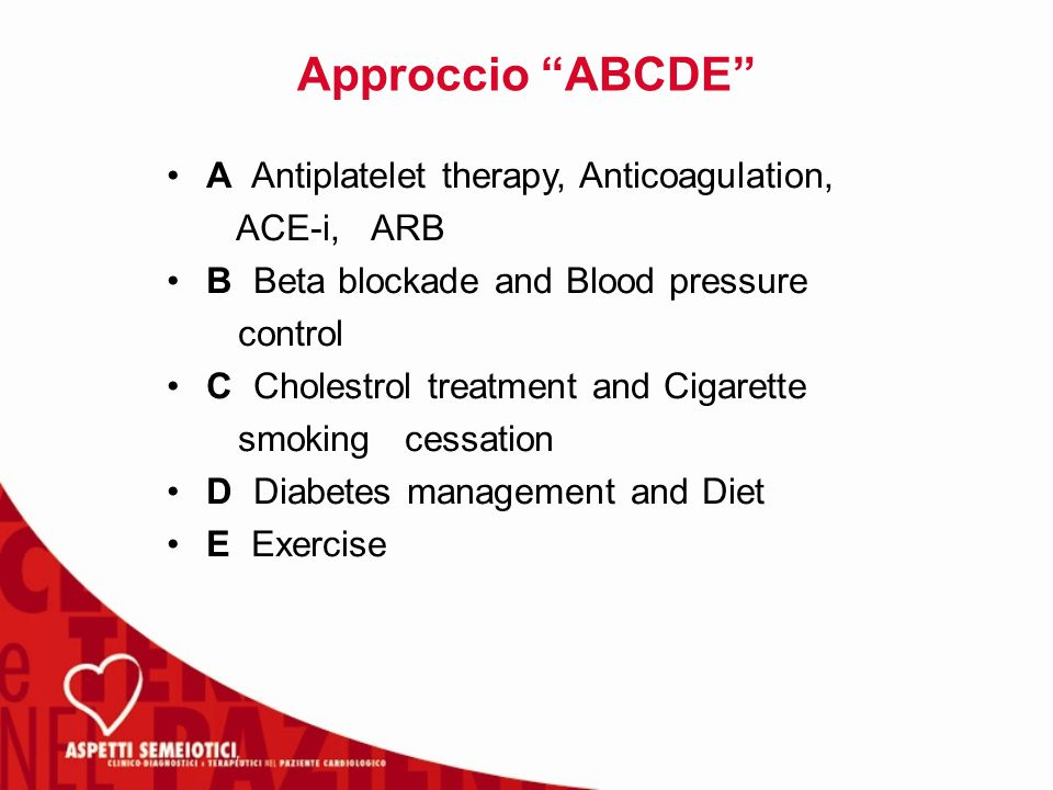 Approccio ABCDE A Antiplatelet therapy, Anticoagulation, ACE-i, ARB