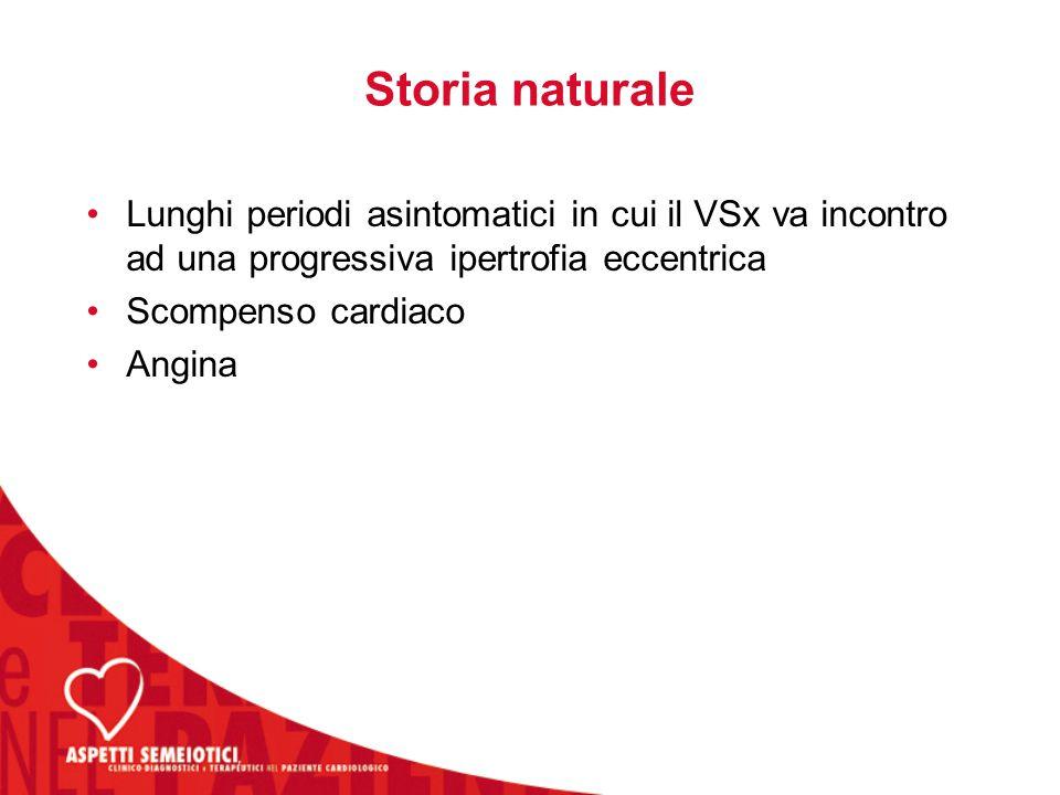 Storia naturale Lunghi periodi asintomatici in cui il VSx va incontro ad una progressiva ipertrofia eccentrica.