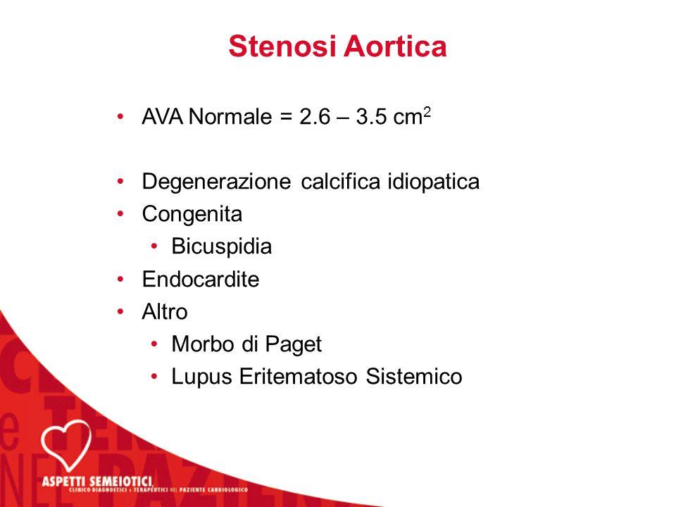 Stenosi Aortica AVA Normale = 2.6 – 3.5 cm2