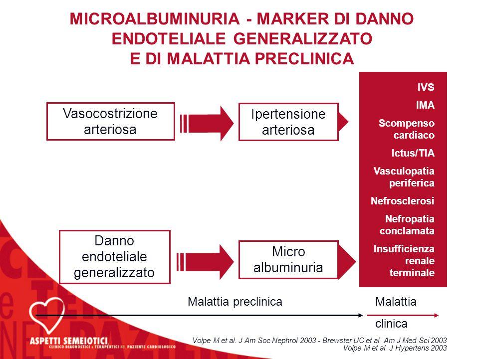 MICROALBUMINURIA - MARKER DI DANNO ENDOTELIALE GENERALIZZATO E DI MALATTIA PRECLINICA