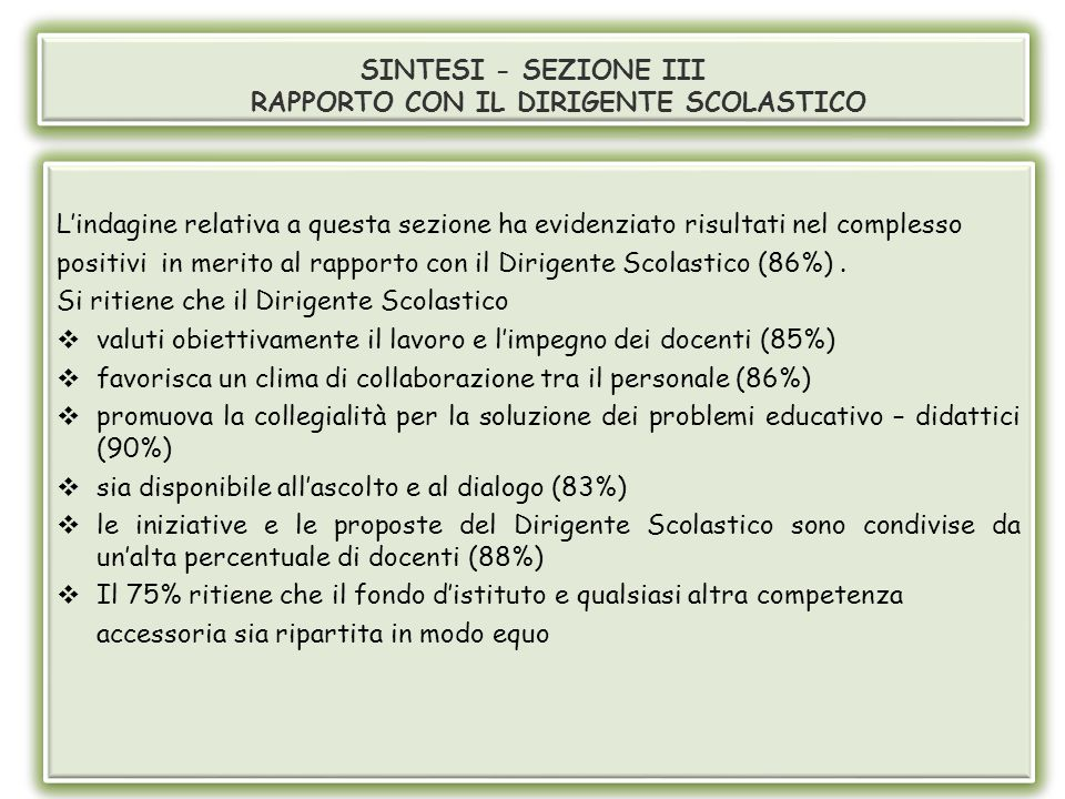 SINTESI - SEZIONE III RAPPORTO CON IL DIRIGENTE SCOLASTICO