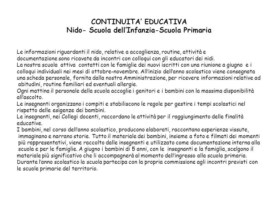 CONTINUITA' EDUCATIVA Nido- Scuola dell'Infanzia-Scuola Primaria