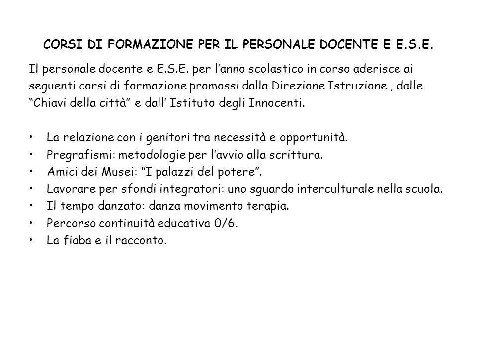 CORSI DI FORMAZIONE PER IL PERSONALE DOCENTE E E.S.E.
