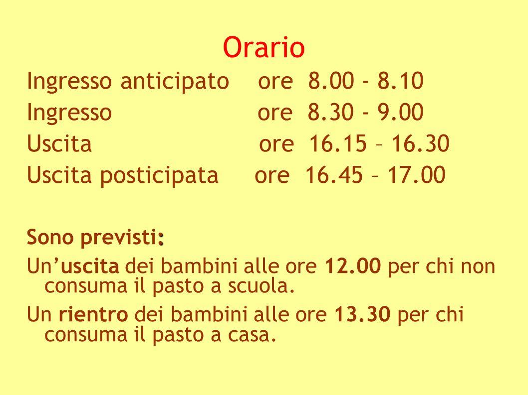 Orario Ingresso anticipato ore 8.00 - 8.10 Ingresso ore 8.30 - 9.00