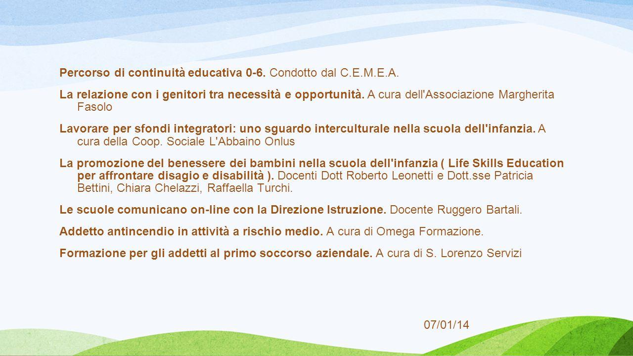 Percorso di continuità educativa 0-6. Condotto dal C.E.M.E.A.