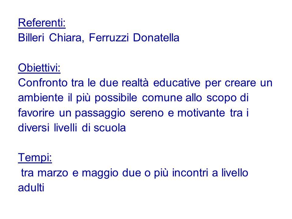 Referenti: Billeri Chiara, Ferruzzi Donatella. Obiettivi: Confronto tra le due realtà educative per creare un.