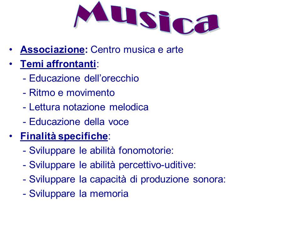 Musica Associazione: Centro musica e arte Temi affrontanti: