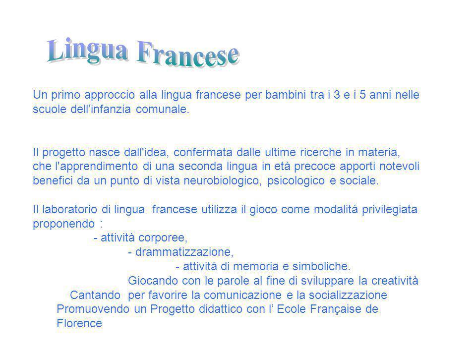 Lingua Francese Un primo approccio alla lingua francese per bambini tra i 3 e i 5 anni nelle scuole dell'infanzia comunale.