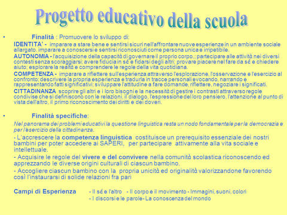 Progetto educativo della scuola