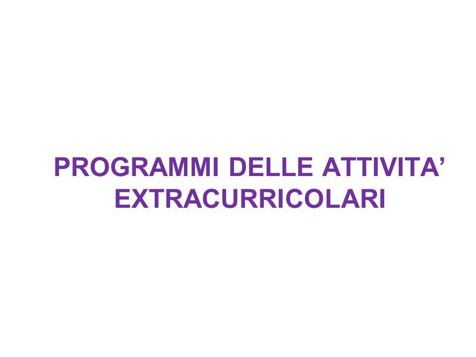 PROGRAMMI DELLE ATTIVITA' EXTRACURRICOLARI
