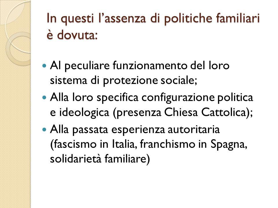 In questi l'assenza di politiche familiari è dovuta: