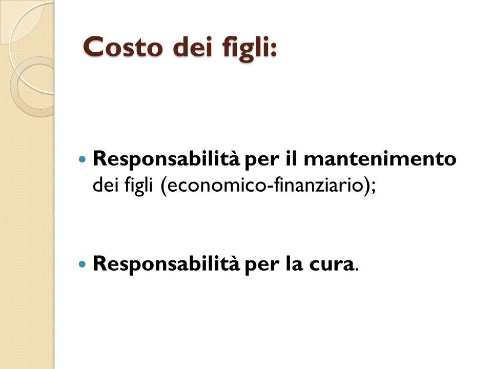 Costo dei figli: Responsabilità per il mantenimento dei figli (economico-finanziario); Responsabilità per la cura.