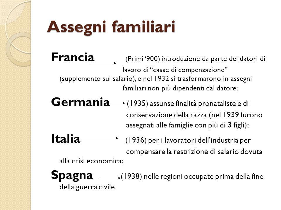 Assegni familiari Francia (Primi '900) introduzione da parte dei datori di.