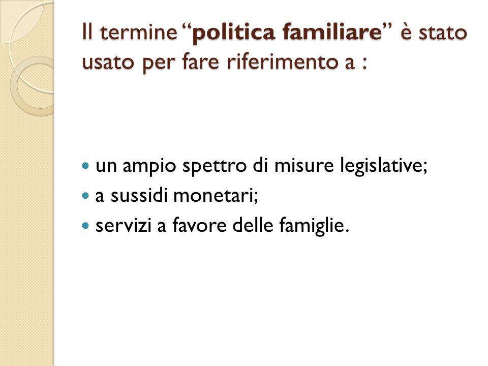 Il termine politica familiare è stato usato per fare riferimento a :