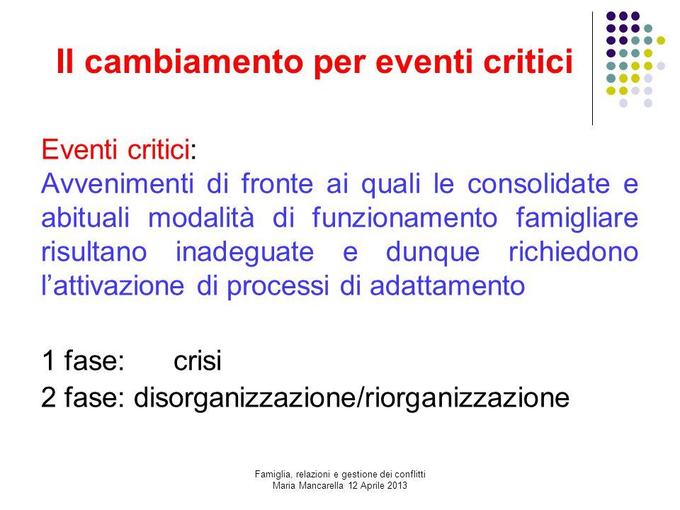 Il cambiamento per eventi critici
