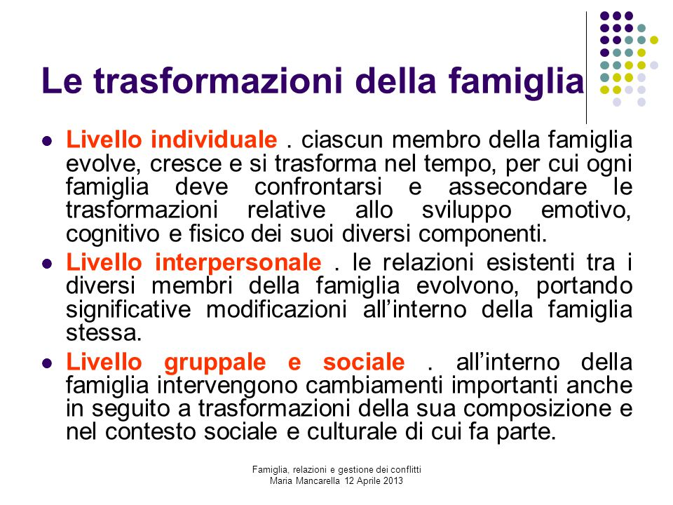 Le trasformazioni della famiglia