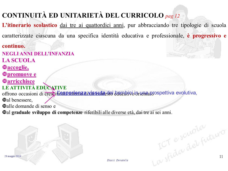 CONTINUITÀ ED UNITARIETÀ DEL CURRICOLO pag 12