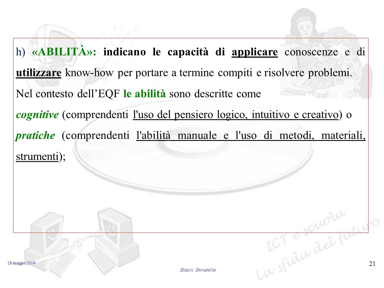 Nel contesto dell'EQF le abilità sono descritte come