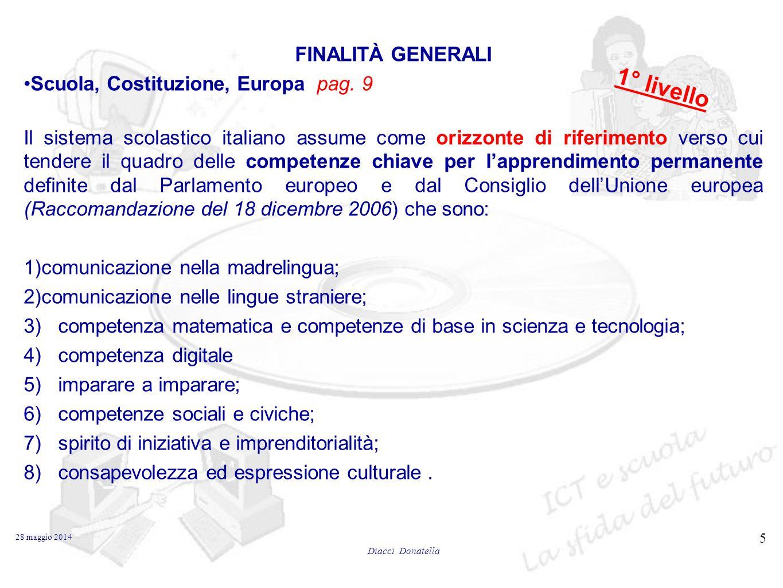 1° livello FINALITÀ GENERALI Scuola, Costituzione, Europa pag. 9