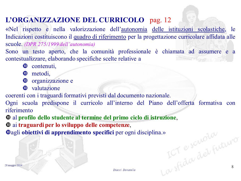 L'ORGANIZZAZIONE DEL CURRICOLO pag. 12