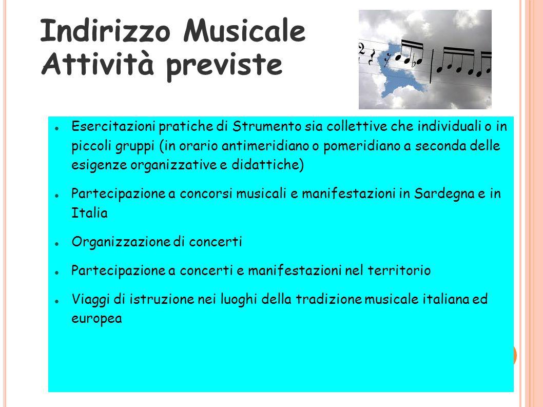 Indirizzo Musicale Attività previste