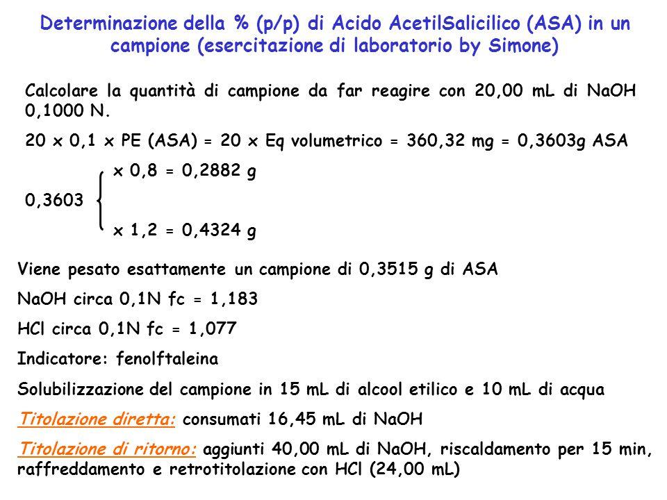 Determinazione della % (p/p) di Acido AcetilSalicilico (ASA) in un campione (esercitazione di laboratorio by Simone)