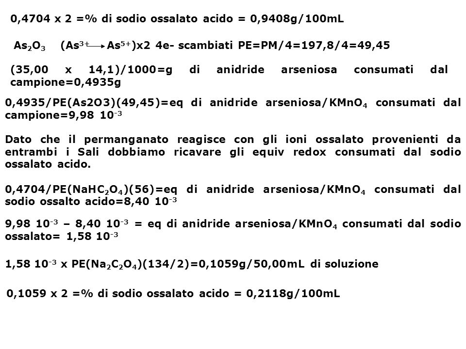 0,4704 x 2 =% di sodio ossalato acido = 0,9408g/100mL