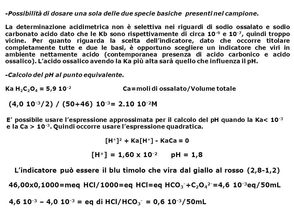 46,00x0,1000=meq HCl/1000=eq HCl=eq HCO3-+C2O42-=4,6 10-3eq/50mL