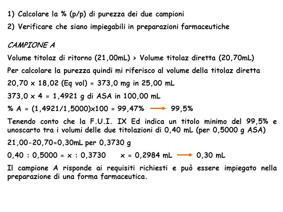 Calcolare la % (p/p) di purezza dei due campioni