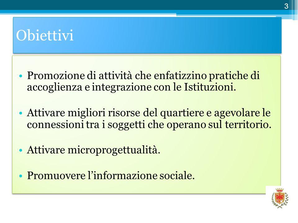 Obiettivi Promozione di attività che enfatizzino pratiche di accoglienza e integrazione con le Istituzioni.