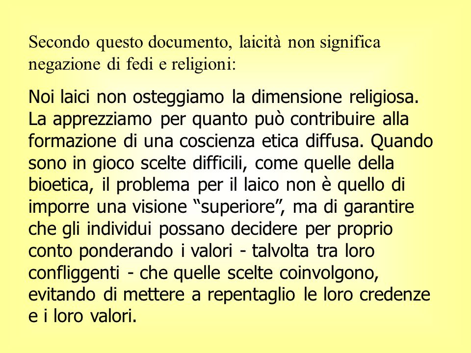 Secondo questo documento, laicità non significa negazione di fedi e religioni: