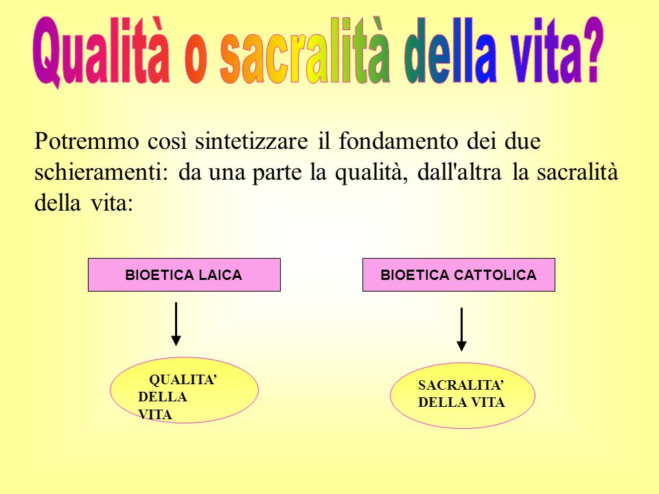 Qualità o sacralità della vita