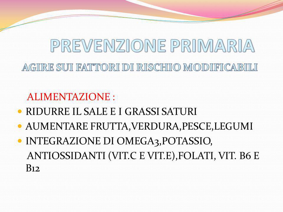 PREVENZIONE PRIMARIA AGIRE SUI FATTORI DI RISCHIO MODIFICABILI